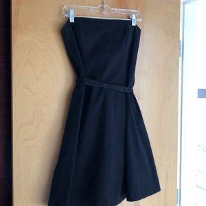 WHBM strapless black dress with waist tie
